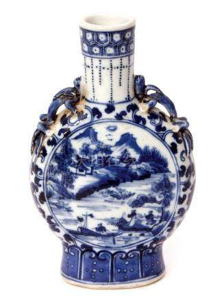 Chinese porcelain blue and white vase of flattened form, the centre painted in Ming style with a