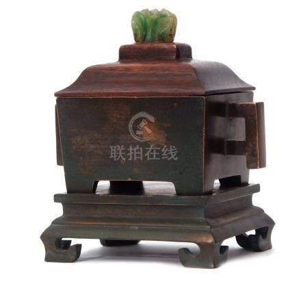Chinese bronze censer with stand and wooden cover, with jadeite knop, impressed reign mark to