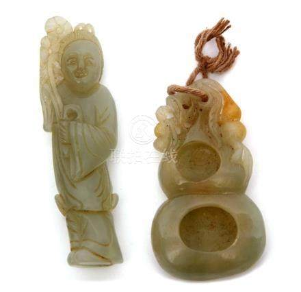 Chinese jade brush washer carved with russet occlusions, together with a jade carving of an