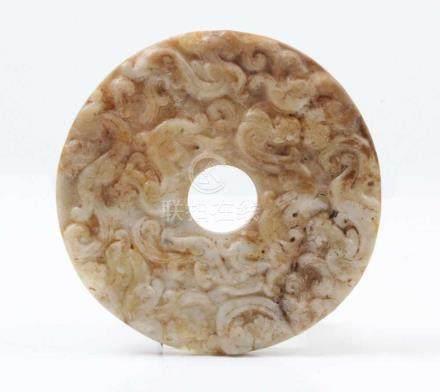 Jadescheibe.China, Ming-Dynastie. Ø 11,5 cm.