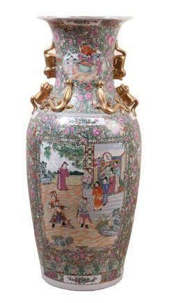 Große Bodenvase.China, 20. Jh. Famille-rose-Dekor. Sich nach oben erweiterte Form mit