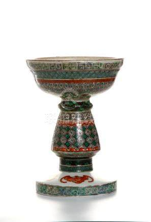 Chinese Wucai Candle Holder