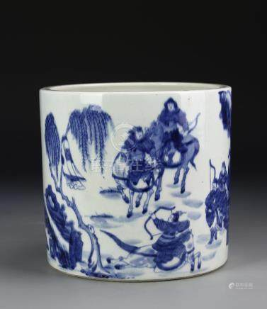 Chinese Blue and White 'Figural' Brushpot