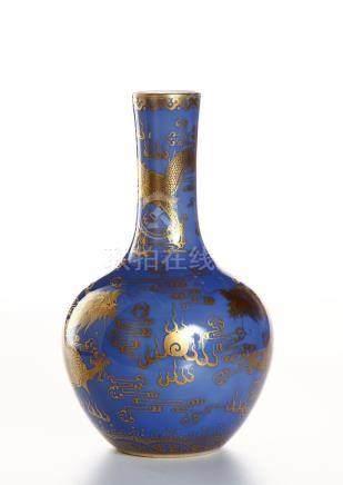 Chinese Blue-Glazed Gilt-Decorated Bottle Vase