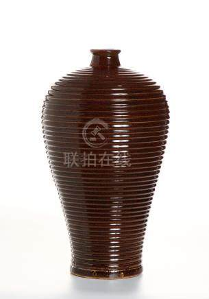 Chinese Red Glazed Meiping Vase