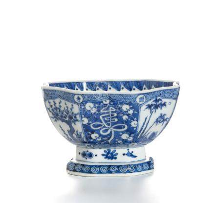 Chinese Blue and White Hexagonal Bowl