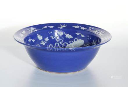 Chinese Blue Glazed Basin