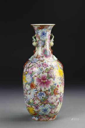 Chinese 'Milles-Fleurs' Baluster Vase