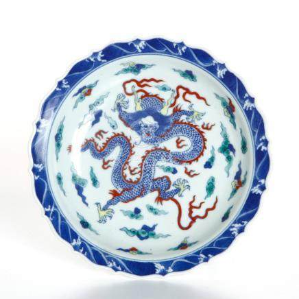 Chinese Doucai Barbed Dish