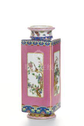 Chinese Pink-Ground Famille Rose Vase
