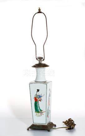 Chinese Famille Verte Quadrangular Vase Converted Lamp