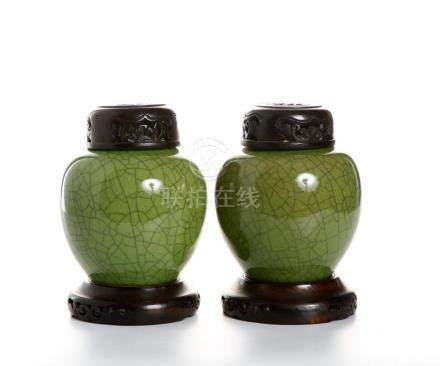 Pair of Chinese Green Crackle Glazed Jars