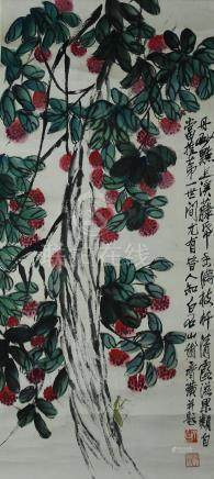 Chinese Scroll Painting of Fruit