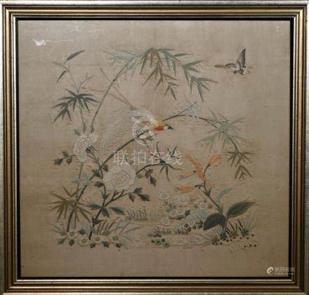 Chinese Framed Silk Embroidery of Flowers and Birds