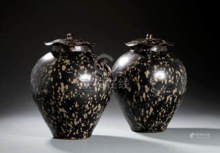 Pair of Chinese Jizhou Tortoise-Shell Glaze Jars/Covers