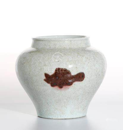Chinese Copper Red Crackle Glazed Jar