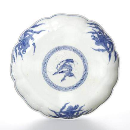 Chinese Blue and White Mallow-Form Dish