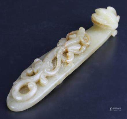 Chinese Carved Jade Dragon Buckle Hook