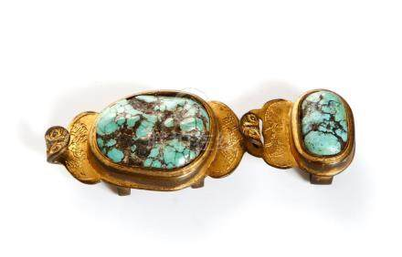 Chinese Turquoise-Inlaid Gilt Bronze Buckle
