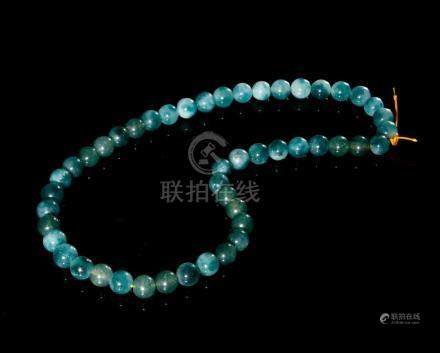 Chinese Aquamarine Beads Necklace