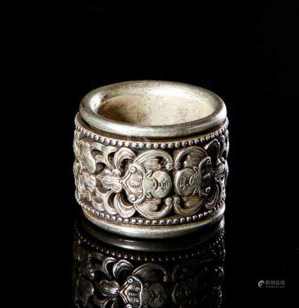 Chinese Carved Silver Thumb Ring