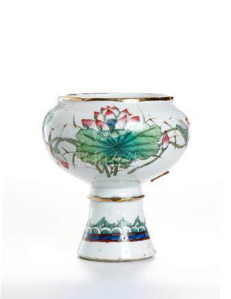 Chinese Famille Rose Stem Bowl