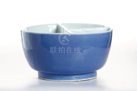 Chinese Blue Glazed Brushpot
