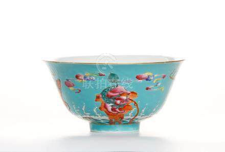 Chinese Turquoise-Ground Famille Rose Bowl
