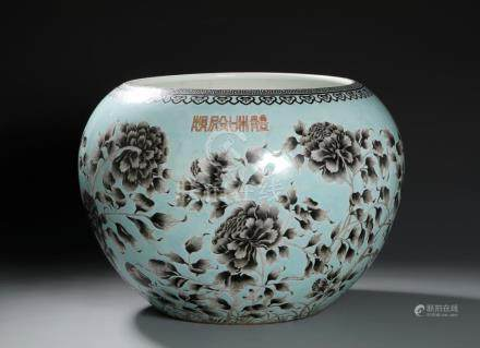 Chinese Large Grisaille Decorated Turquoise Ground Jar