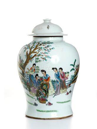 Chinese Famille Rose Baluster Jar and Cover