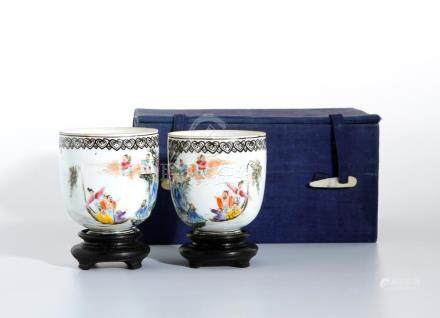 Pair of Chinese Famille Rose 'Eight Immortals' Cups