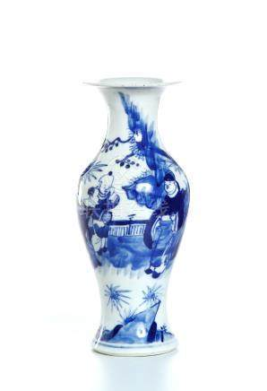 Chinese Blue and White 'Figural' Baluster Vase