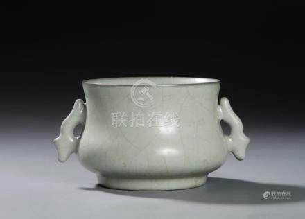 Chinese Kuan-Type Censer With Handles