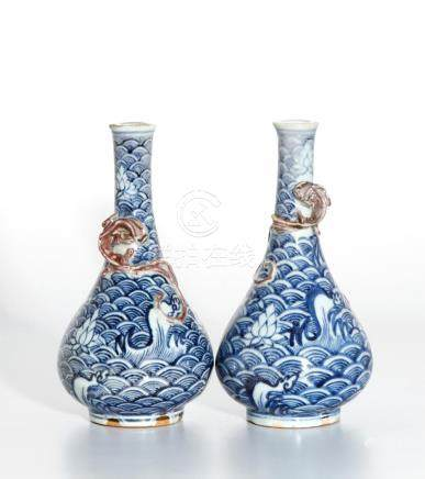 Pair of Chinese Blue and White Vases