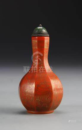 Chinese Gilt and Peking Glass Snuff Bottle