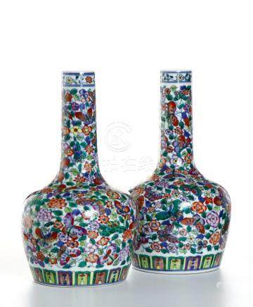 Pair of Chinese 'Mille-Fleurs' Bottle Vases