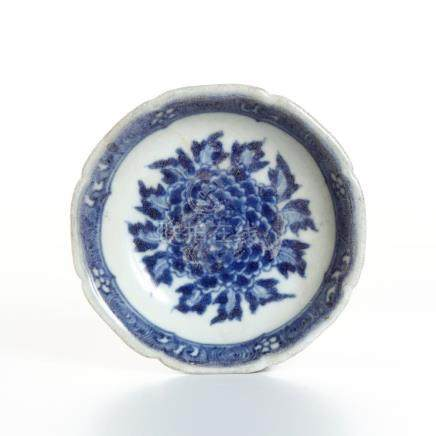 Chinese Blue and White Foliate-Rimmed Dish