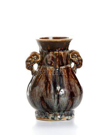 Chinese Flambe-Glazed Baluster Vase