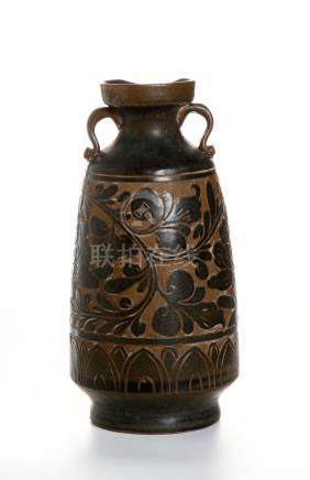 Chinese Lingwu Type Black-Glazed Ewer
