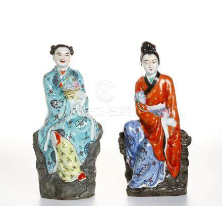 Pair of Chinese Famille Rose Figures