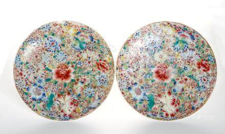 Pair of Chinese 'Mille-Fleurs' Dishes