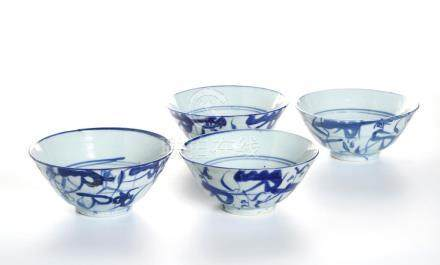 Chinese Four Chinese Blue and White Bowls