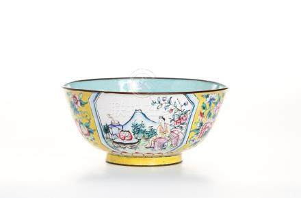 Chinese Yellow-Ground Enameled Bowl