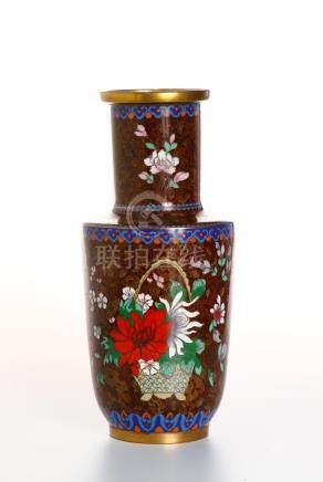 Chinese Cloisonne Rouleau Vase and Ewer