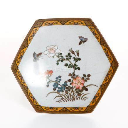 Chinese Hexagonal Cloisonne Dish