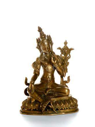 Chinese Gilt-Bronze Figure of Manjushri