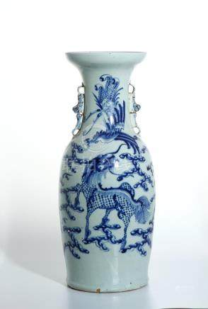 Chinese Blue and White 'Qilin and Phoenix' Vase