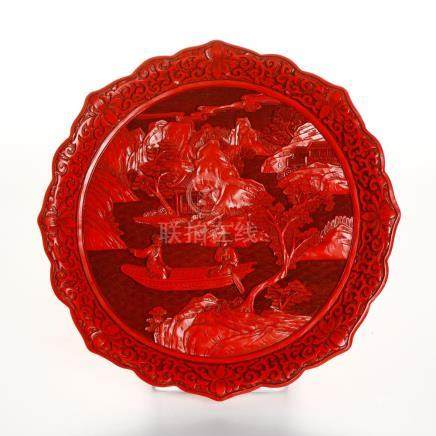 Chinese Cinnabar Lacquer Barbed Dish