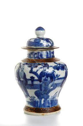 Chinese Ge Type Blue and White Baluster Jar