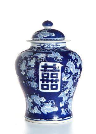 Chinese Blue and White 'Double Happiness' Jar
